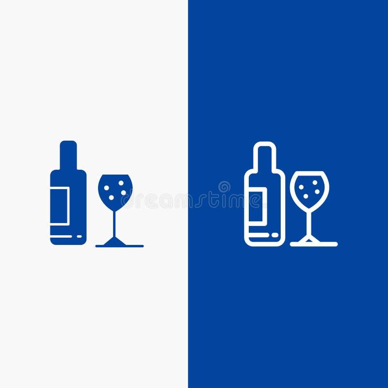 Baner för blå för baner för fast symbol för drink, för flaska, för exponeringsglas, för förälskelselinje och för skåra blått symb stock illustrationer