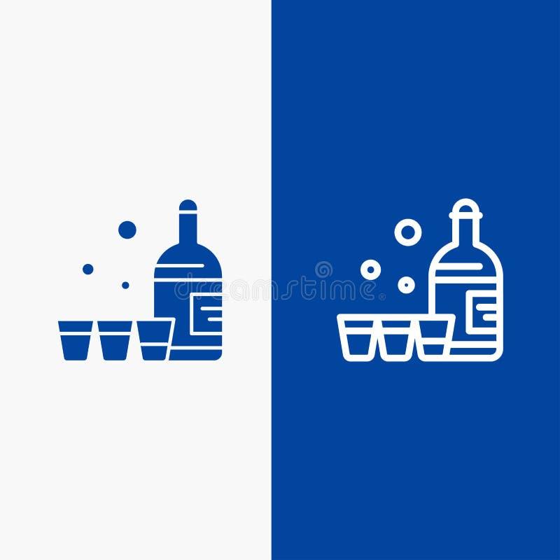 Baner för blå för baner för fast symbol för drink, för flaska, för exponeringsglas, för Irland linje och för skåra blått symbol f stock illustrationer