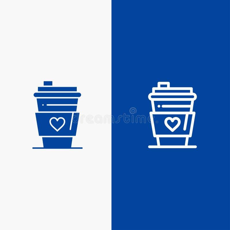Baner för blå för baner för fast symbol för exponeringsglas, för drink, för förälskelse, för brölloplinje och för skåra blått sym vektor illustrationer