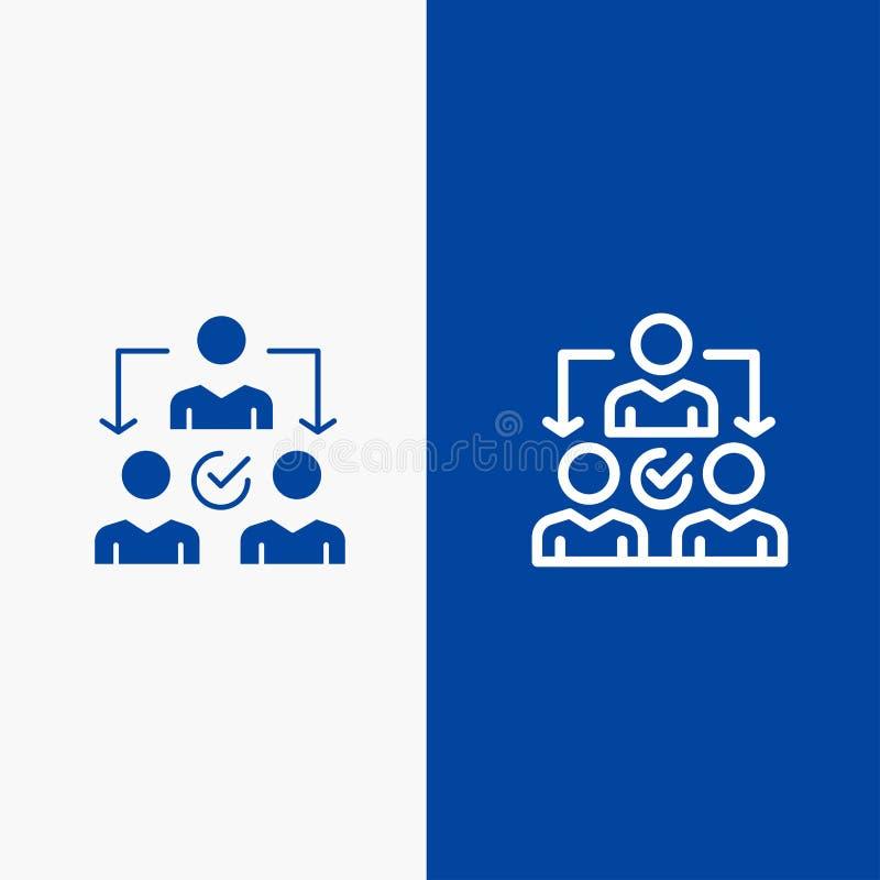 Baner för blå för baner för fast symbol för för fördelningslinje och skåra blått symbol för linje och för skåra fast stock illustrationer