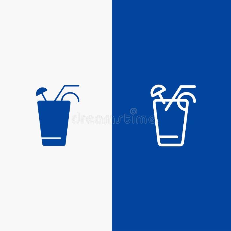 Baner för blå för baner för fast symbol för fruktsaft, för drink, för mat, för vårlinje och för skåra blått symbol för linje och  royaltyfri illustrationer