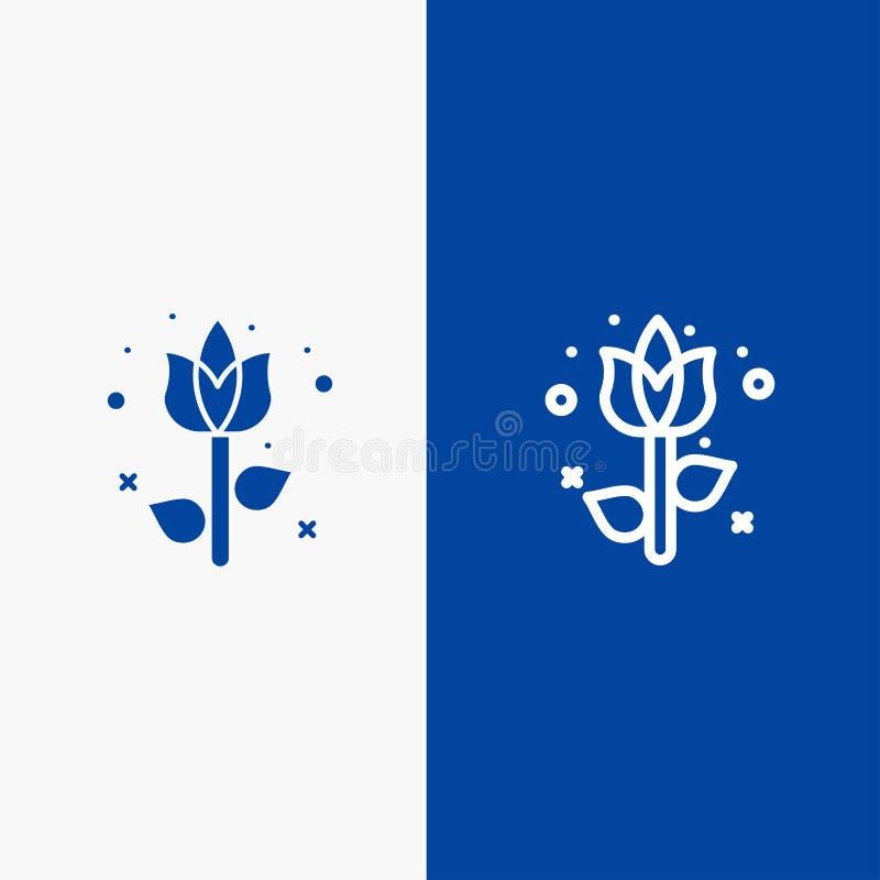 Baner för blå för baner för fast symbol för garnering, för påsk, för blomma, för växtlinje och för skåra blått symbol för linje o royaltyfri illustrationer