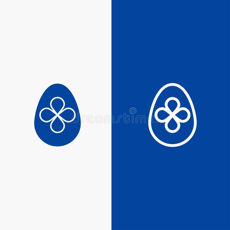 Baner för blå för baner för fast symbol för garnering, för påsk, för påskägg, för ägglinje och för skåra blått symbol för linje o stock illustrationer