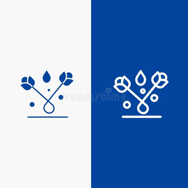 Baner för blå för baner för fast symbol för garnering, för påsk, för växt, Tulip Line och för skåra blått symbol för linje och fö stock illustrationer