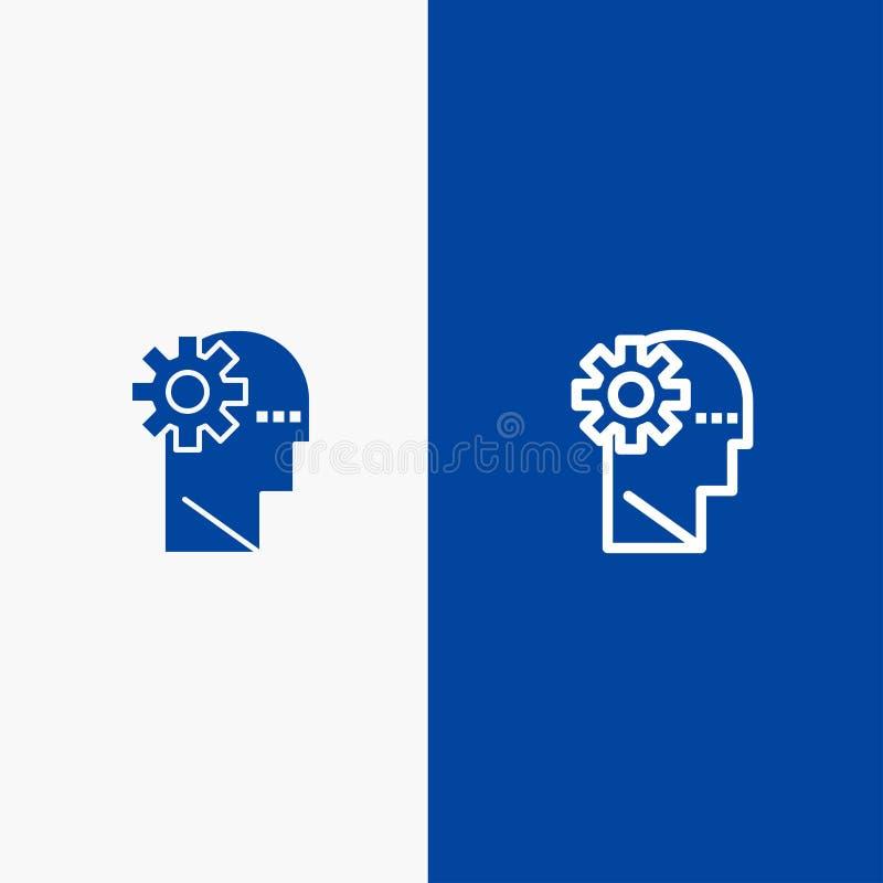 Baner för blå för baner för fast symbol för hjärna, för process, för lära, för meningslinje och för skåra blått symbol för linje  royaltyfri illustrationer