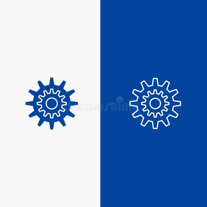 Baner för blå för baner för fast symbol för inställningar, för kugge, för kugghjul, för produktion, för system, för hjul, för arb stock illustrationer