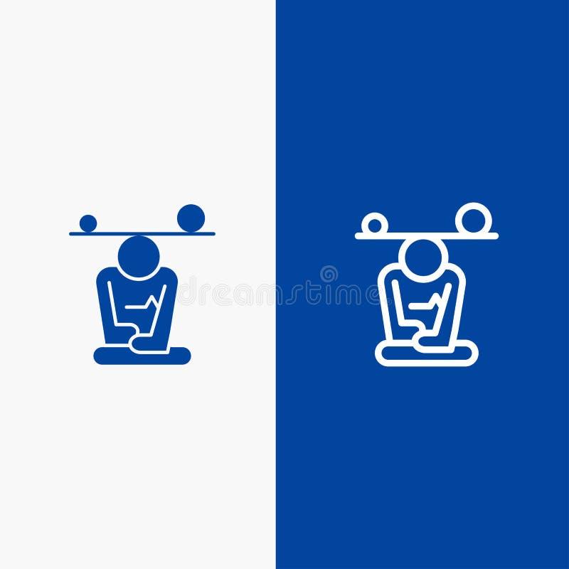 Baner för blå för baner för fast symbol för jämvikt, för koncentration, för meditation, för mening, för Mindfulnesslinje och för  vektor illustrationer