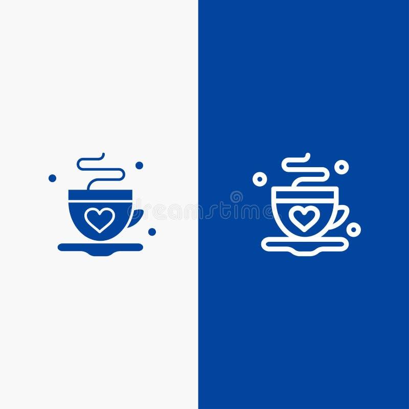 Baner för blå för baner för fast symbol för kopp, för kaffe, för te, för förälskelselinje och för skåra blått symbol för linje oc vektor illustrationer