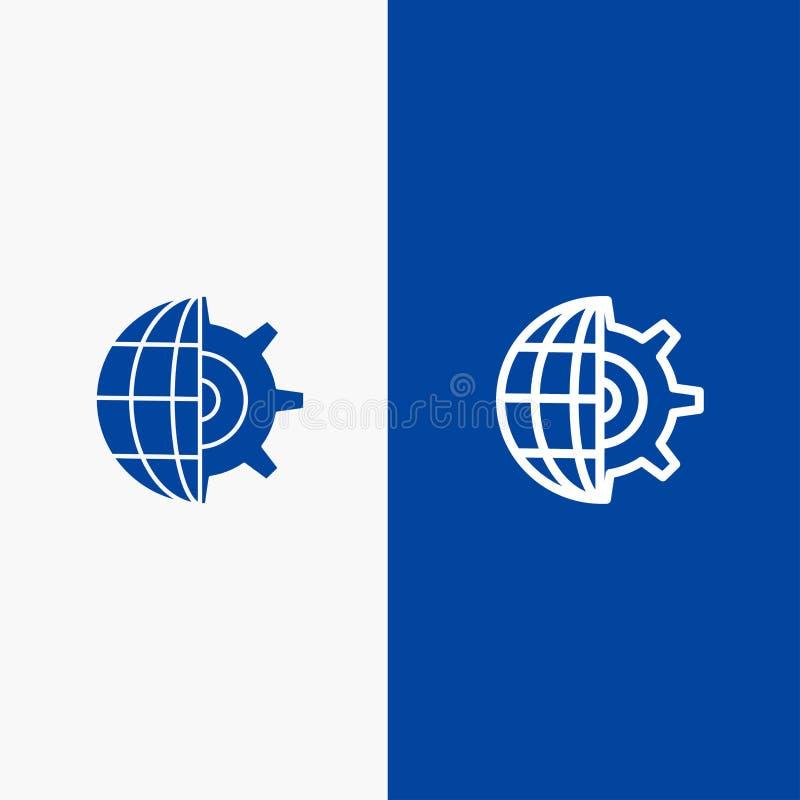 Baner för blå för baner för fast symbol för kugghjul, för jordklot, för inställning, för affärslinje och för skåra blått symbol f royaltyfri illustrationer