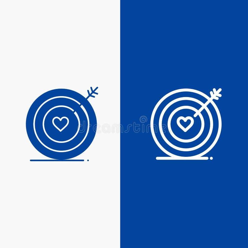 Baner för blå för baner för fast symbol för mål, för förälskelse, för hjärta, för brölloplinje och för skåra blått symbol för lin stock illustrationer