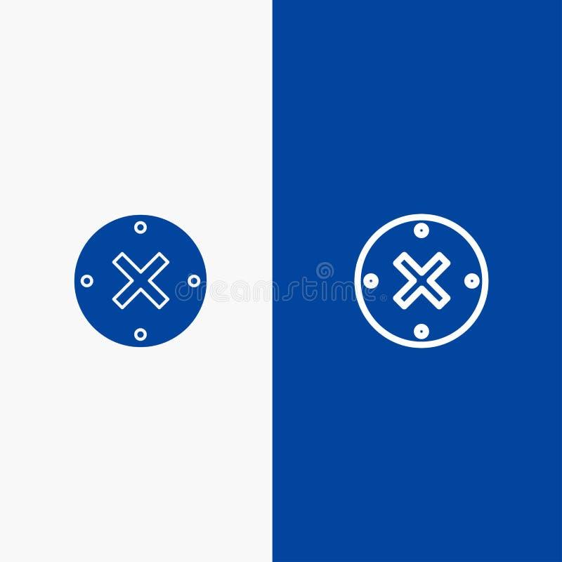 Baner för blå för baner för fast symbol för slut, för kors, för borttagnings, för annulleringslinje och för skåra blått symbol fö stock illustrationer