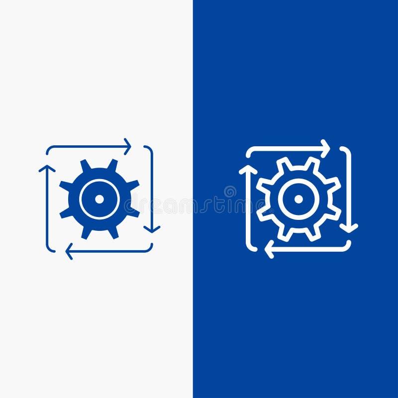 Baner för blå för baner för fast symbol för Workflow, för automation, för utveckling, för flöde, för operationlinje och för skåra stock illustrationer