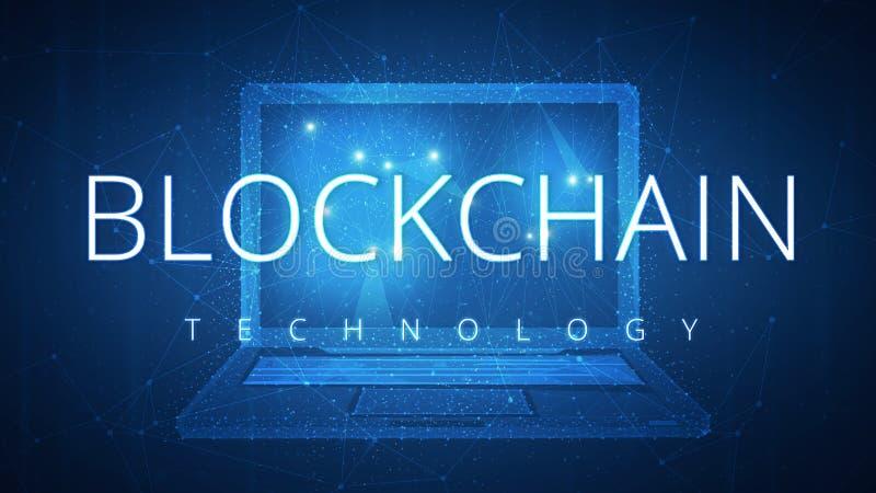 Baner för Blockchain teknologihud med bärbara datorn royaltyfri illustrationer