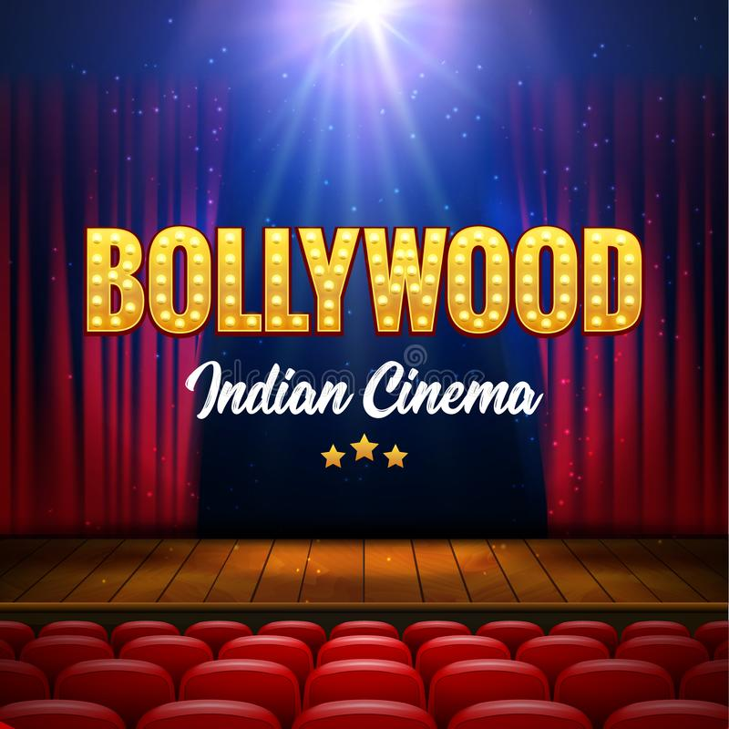 Baner för Bollywood indiskt biofilm Indisk bio Logo Sign Design Glowing Element med etappen och gardiner stock illustrationer