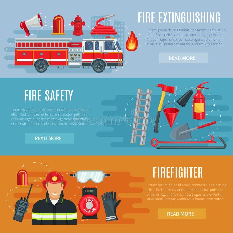 Baner för brandbekämpning- eller brandsäkerhetsvektor stock illustrationer