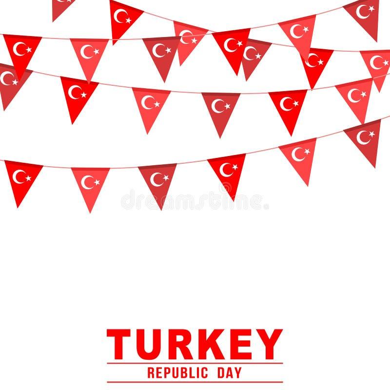Baner för buntings för Turkiet republikdag stock illustrationer