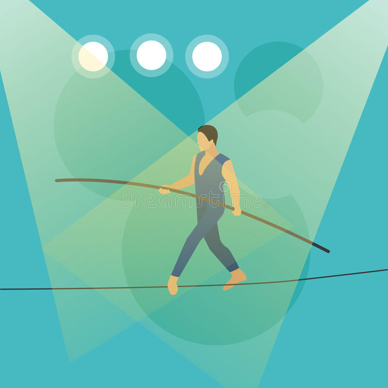 Baner för cirkusbegreppsvektor Akrobater och konstnärer utför show i arena vektor illustrationer