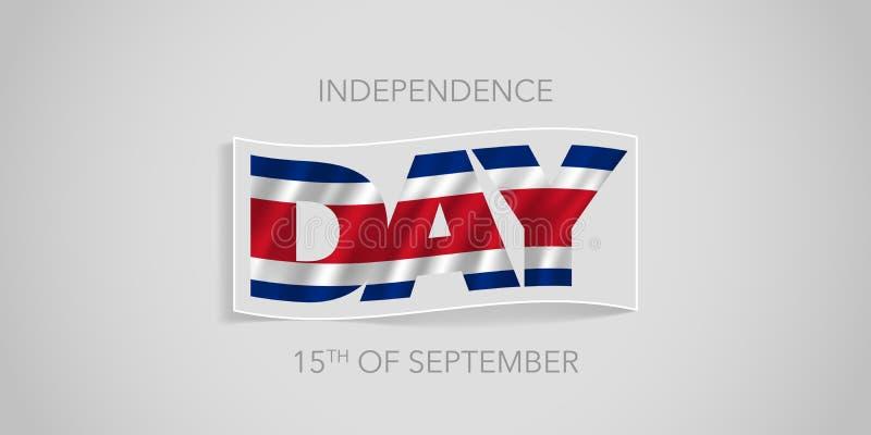 Baner för Costa Rica lyckligt självständighetsdagenvektor, hälsningkort royaltyfri illustrationer