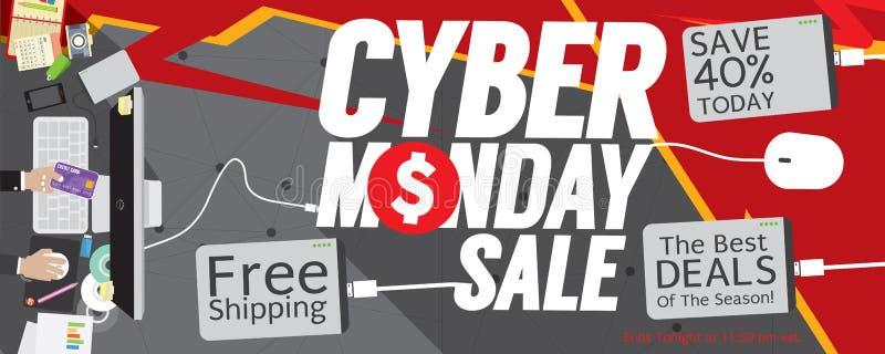 Baner för Cybermåndag Sale 8000x3200 PIXEL vektor illustrationer
