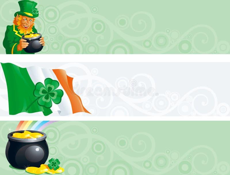 Baner för dag för St. Patricks royaltyfri illustrationer