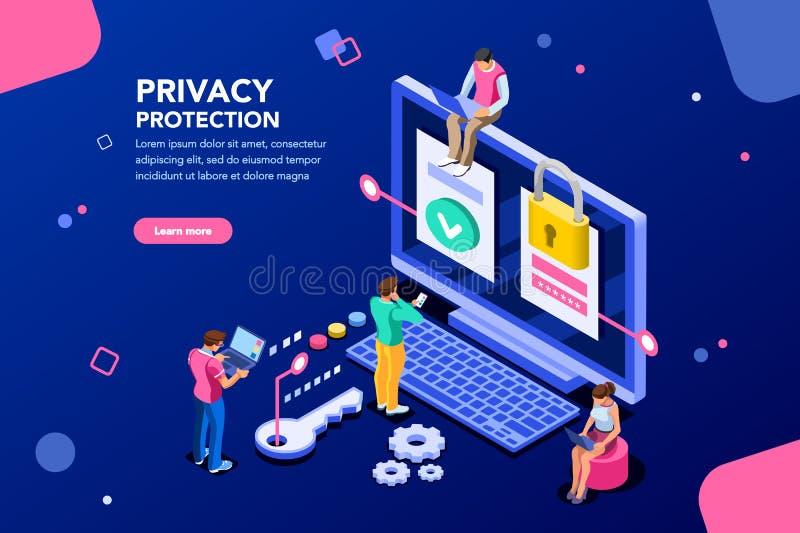 Baner för dataskydd för Website stock illustrationer