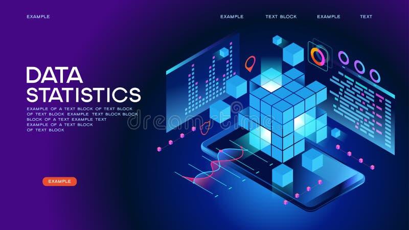 Baner för datastatistikrengöringsduk royaltyfri illustrationer