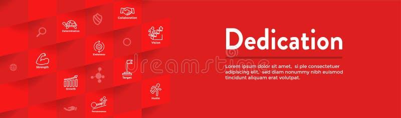 Baner för dedikation-, vision- och värderengöringsduktitelrad med anslutning, tillväxt, fokusen och kvalitet royaltyfri illustrationer