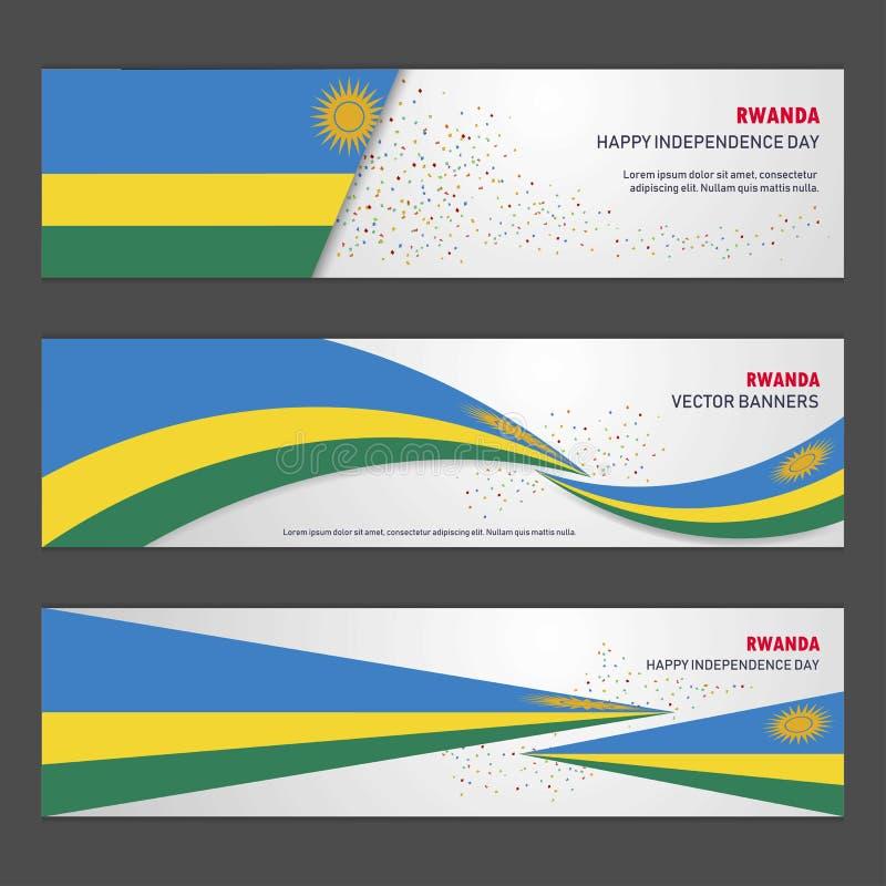 Baner för design för bakgrund för Rwanda självständighetsdagenabstrakt begrepp och fl stock illustrationer