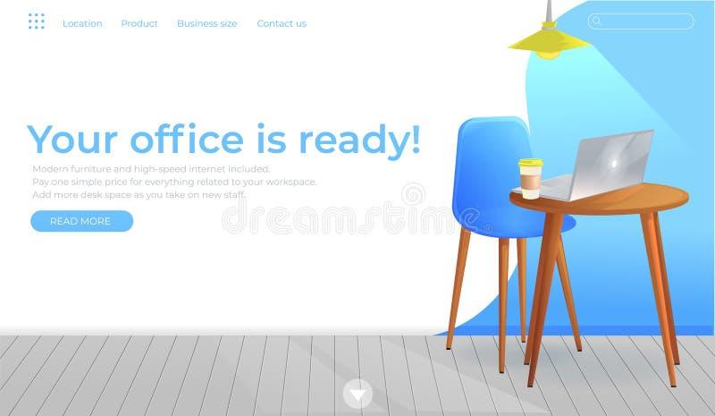 Baner för design för kontorsmöblemang Arbetsplats med tabellen och bärbar dator och kaffe inre modernt Landa sidaWebsiteconept vektor illustrationer