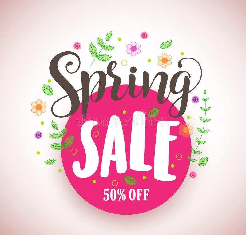 Baner för design för vårförsäljningsvektor befordrings- i rosa cirkel med färgrika blomma- och växtbeståndsdelar stock illustrationer