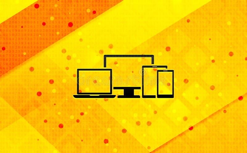 Baner för Digital gul bakgrund för smart apparatsymbol abstrakt digitalt royaltyfri illustrationer