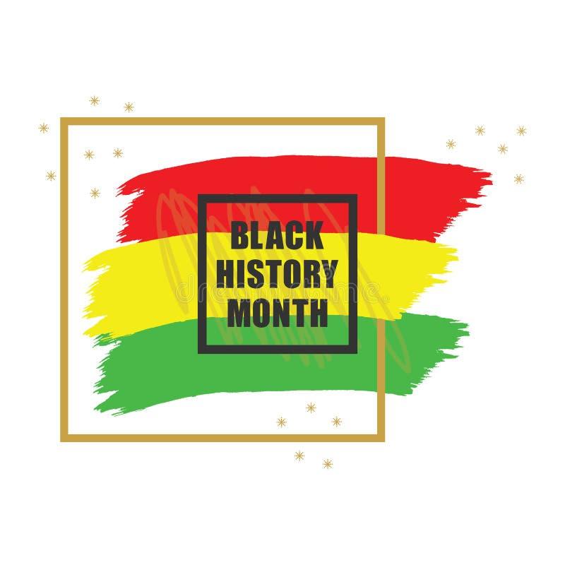 Baner för emblem för guld- och svart historiemånad färgrikt på vit bakgrund stock illustrationer