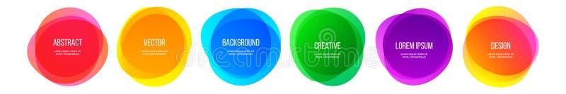 Baner för färgrundaform och abstrakta färgrika beståndsdelar för grafisk design för regnbåge Vektorvattenfärgborsten inramar färg vektor illustrationer