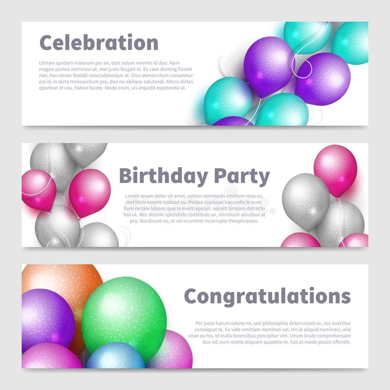 Baner för födelsedagparti med den realistiska ballongvektorn för beröm ställde in royaltyfri illustrationer
