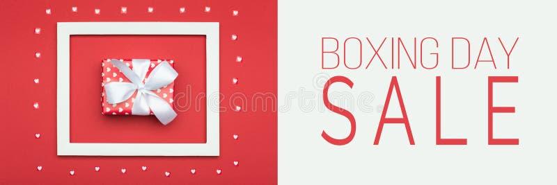Baner för försäljning för boxningdag Festlig Sale för jul för vinterferier bakgrund arkivfoto