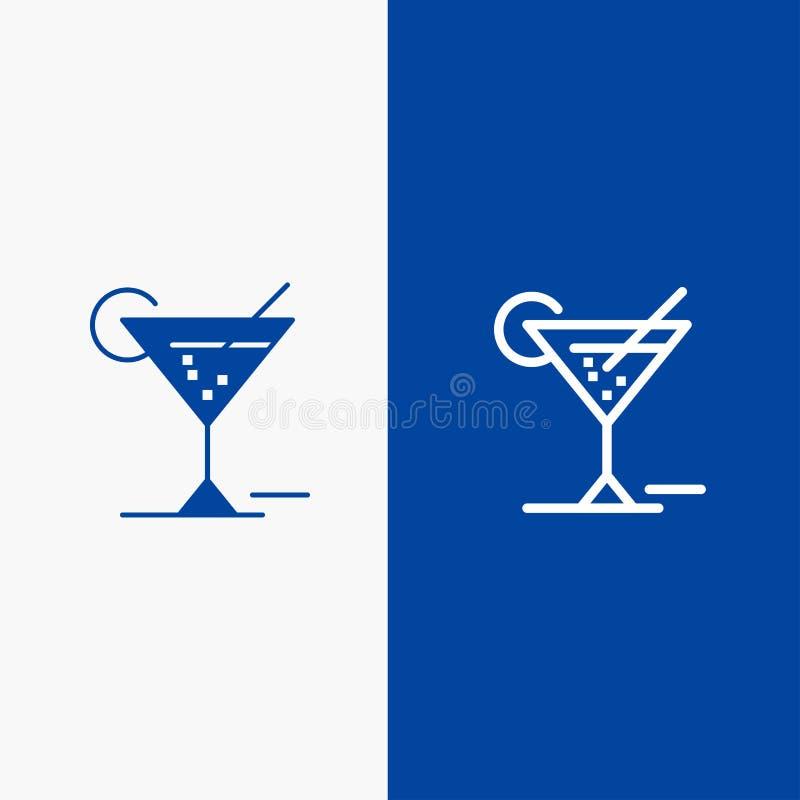 Baner för fast symbol för exponeringsglas, för exponeringsglas, för drink, för hotelllinje och för skåra blått royaltyfri illustrationer