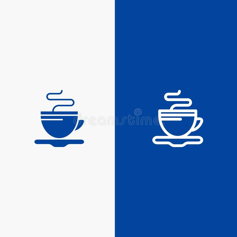 Baner för fast symbol för te, för kopp, för kaffe, för hotelllinje och för skåra blått stock illustrationer