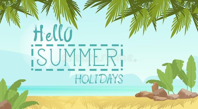 Baner för ferie för sand för sjösida för begrepp för sommarstrandsemester tropiskt vektor illustrationer