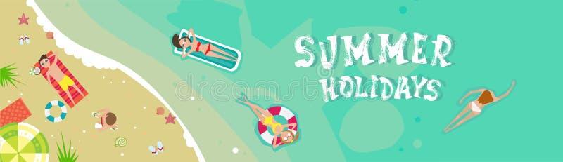 Baner för ferie för sand för sjösida för sommarstrandsemester tropiskt royaltyfri illustrationer