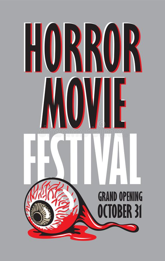 Baner för festival för fasafilm, läskig bio royaltyfri illustrationer