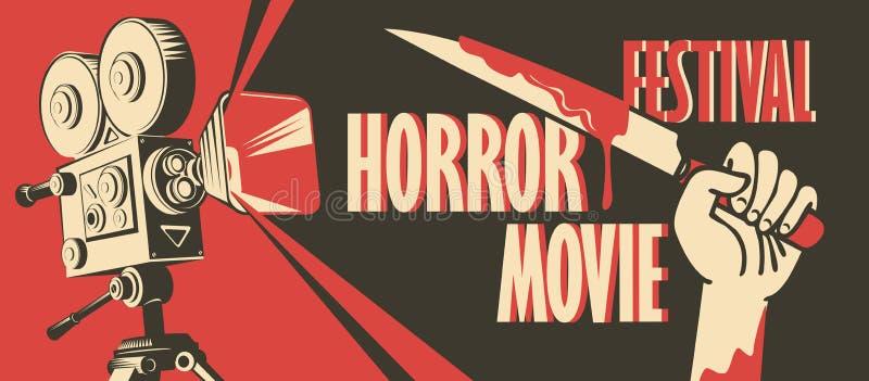 Baner för festival för fasafilm, läskig bio vektor illustrationer