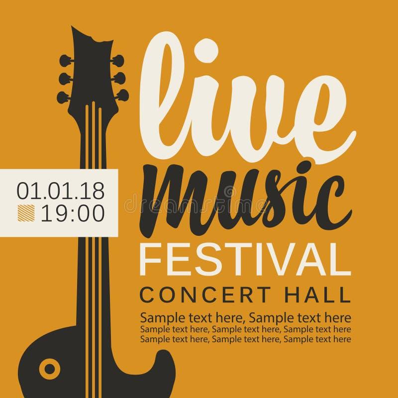 Baner för festival för levande musik med gitarren royaltyfri illustrationer