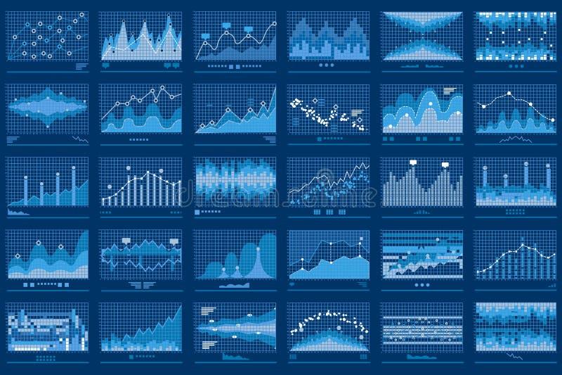 Baner för finansiella diagram för affärsdata blått royaltyfri illustrationer