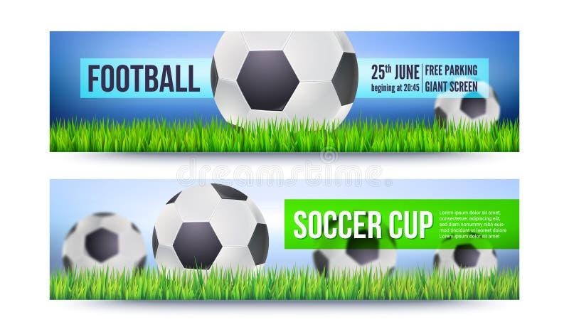 Baner för fotboll- eller fotbolllekar, turneringar, mästerskap Bakgrund med att spela bollen på grönt gräs mall stock illustrationer