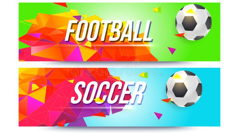 Baner för fotbollslag, mästerskap av fotboll Låg-poly bakgrund med bollen och trianglar för affischer, räkningar och stock illustrationer