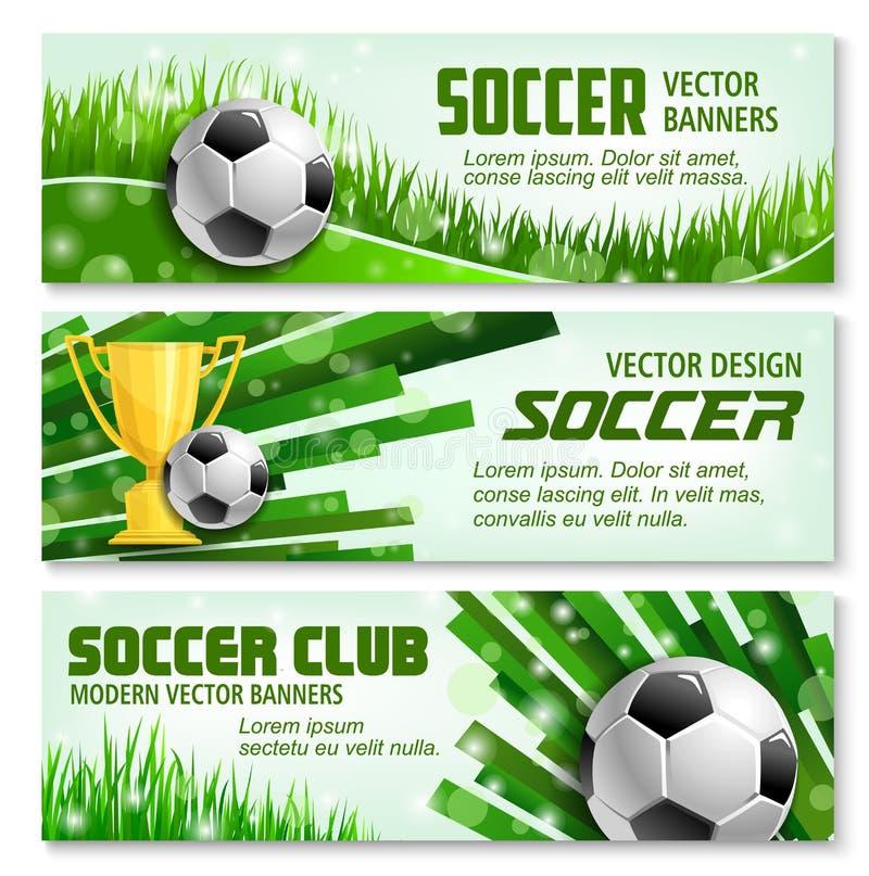 Baner för fotbollsport 3d av den fotbollbollen och trofén stock illustrationer