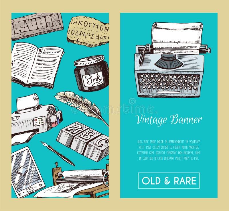 Baner för gamla böcker och seanless modellvektorillustration Tappning eller antik skrivande öppen bok för brevpapper och royaltyfri illustrationer