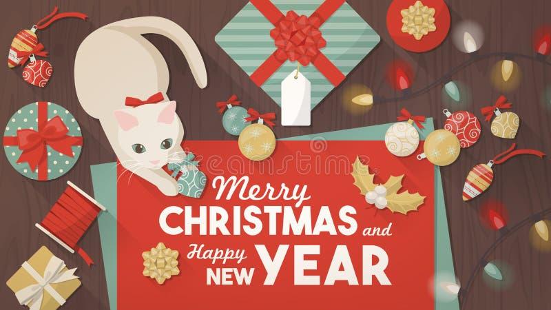 Baner för glad jul med katten stock illustrationer