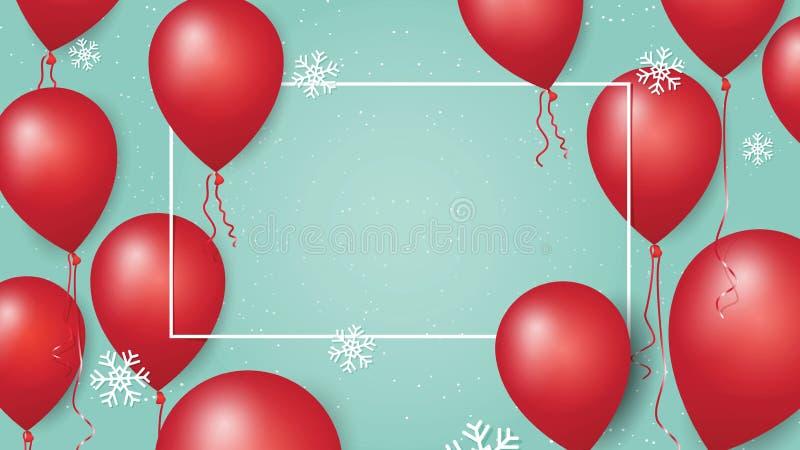Baner 2017 för glad jul och för lyckligt nytt år med röda ballonger och snöflingor på pastellfärgad bakgrund vektor illustrationer