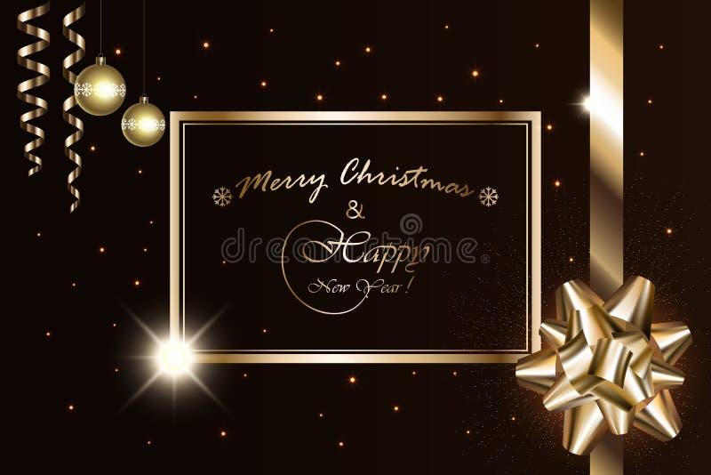 Baner för glad jul och för nytt år, vektor som mousserar ljus med den guld- pilbågen, band, stjärnor, bollar och lyxiga gnistor f royaltyfri illustrationer